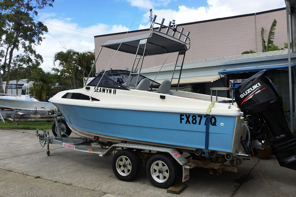 Transom fibreglass power boat repaired by us. Boats repairs done at Lifestyle Boats Queensland.