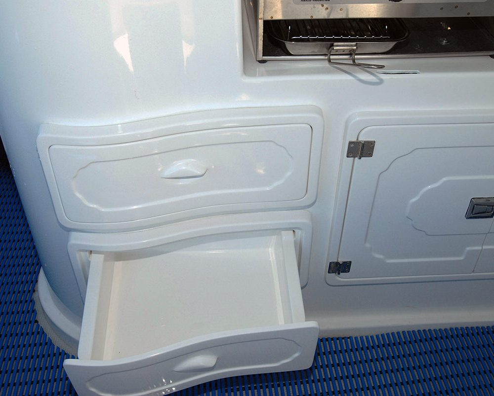 Fibreglass drawers in the galley module, X-7400 Allrounder