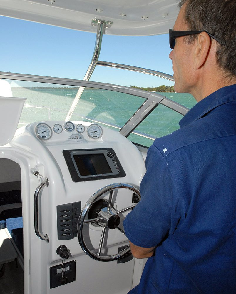 Skipper at the helm of the X-7400 Allrounder